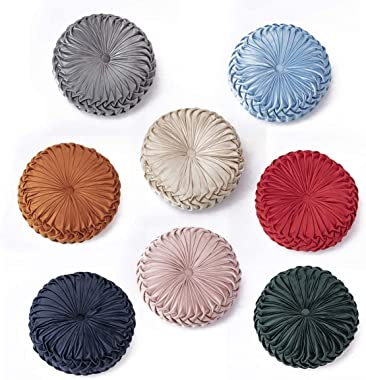 EASTSURE Round Throw Pillow Cushion Velvet Pleated Pillow Filled European Solid Color Pumpkin Plush Floor Pillow Home Decorative for Sofa Bed Living Room Office Chair Couch