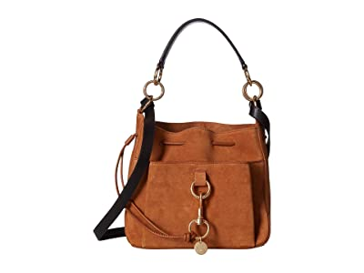 See by Chloe 11 Drawstring Leather Crossbody Bag (Caramello) Handbags