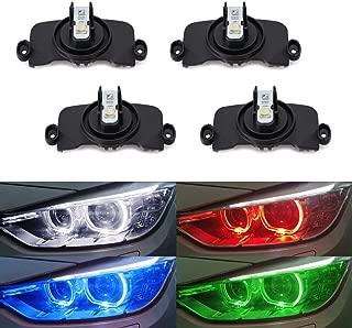 iJDMTOY (4) RGBW Angel Eye Marker Bulbs For BMW F30 F31 3 Series HID Adaptive Headlight Trims (320i 328i 330i 335i 340i etc.) Smartphone Remote Controlled