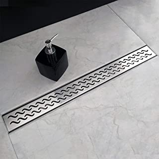 Neodrain 32 Inch Rectangular Linear Shower Drain with Slight Sea Grate, Brushed 304 Stainless Steel Bathroom Floor Drain,Shower Floor Drain Includes Adjustable Leveling Feet, Hair Strainer