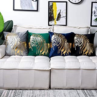 Soleebee Set of 4 Throw Pillows Cover Velvet Modern Decorative Leaves and Zebra Bronzing Printed Pillowcase Cushion Cover for Couch Sofa Bed Car 18x18 Inch (Mix 2)