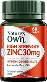 Nature's Own High Strength Zinc 30mg - Skin and Immune System Health for Minor Wound Healing