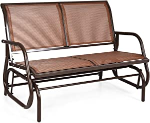 Giantex Swing Glider Chair 48 Inch with Spacious Space, 2 People Swing Lounge Glider Chair Cozy Patio Bench Outdoor & Indoor for Patio, Backyard, Poolside, Lawn Steel Rocking Garden Loveseat (Brown)