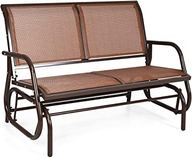 Giantex Swing Glider Chair 48 Inch with Spacious Space, 2 People Swing Lounge Glider Chair Cozy Patio Bench Outdoor & Indoor