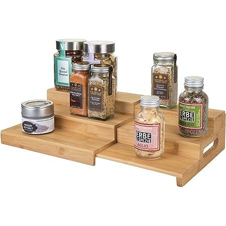 mDesign étagère à épice élégante pour Armoire de Cuisine – Porte épice Extensible à 3 Niveaux en Bois – Rangement Cuisine Pratique – Couleur Bambou