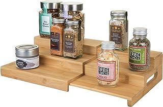 mDesign étagère à épice élégante pour Armoire de Cuisine – Porte épice Extensible à 3 Niveaux en Bois – Rangement Cuisine ...