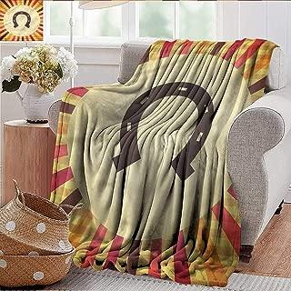 Xaviera Doherty Custom Sofa Bed Throw Blanket Horseshoe,Starburst Vintage Lines 300GSM,Super Soft and Warm,Durable Throw Blanket 60