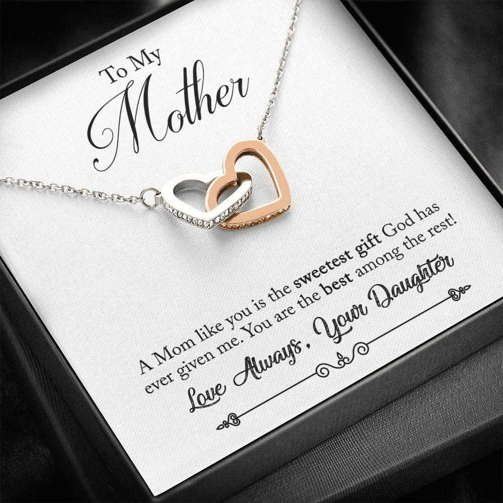 Simple Gift - Under blast sales to My Mom Max 60% OFF Daughter Heart Interlockin Necklace from