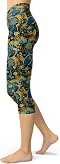 Women's Paisley Floral Printed Cropped Capri Leggings Buttery Soft Tights
