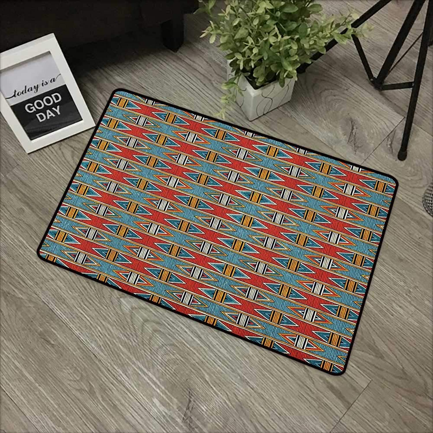Bathroom door mat W35 x L59 INCH Kente Pattern,Tribal Traditional Triangles and Stripes Indigenous Native Cultural Heritage, Multicolor Easy to clean, no deformation, no fading Non-slip Door Mat Carpe