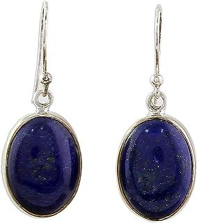 NOVICA Lapis Lazuli .925 Sterling Silver Dangle Earrings `Oval Seas`