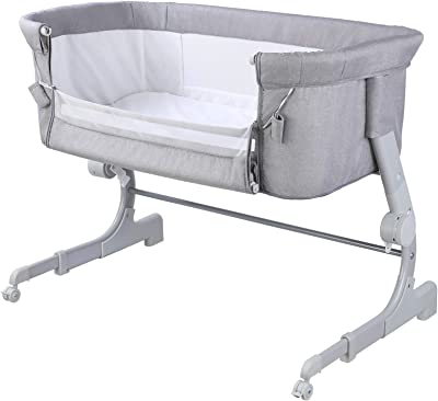 LAZY BUDDY Baby Bassinet Bedside Sleeper, Adjustable Height Portable Baby Crib, Baby Bed to Bed Includes Carry Bag, Mattress, with Wheels & Breathable Mesh for Infant/Baby Boy/Baby Girl/Newborn (Grey)