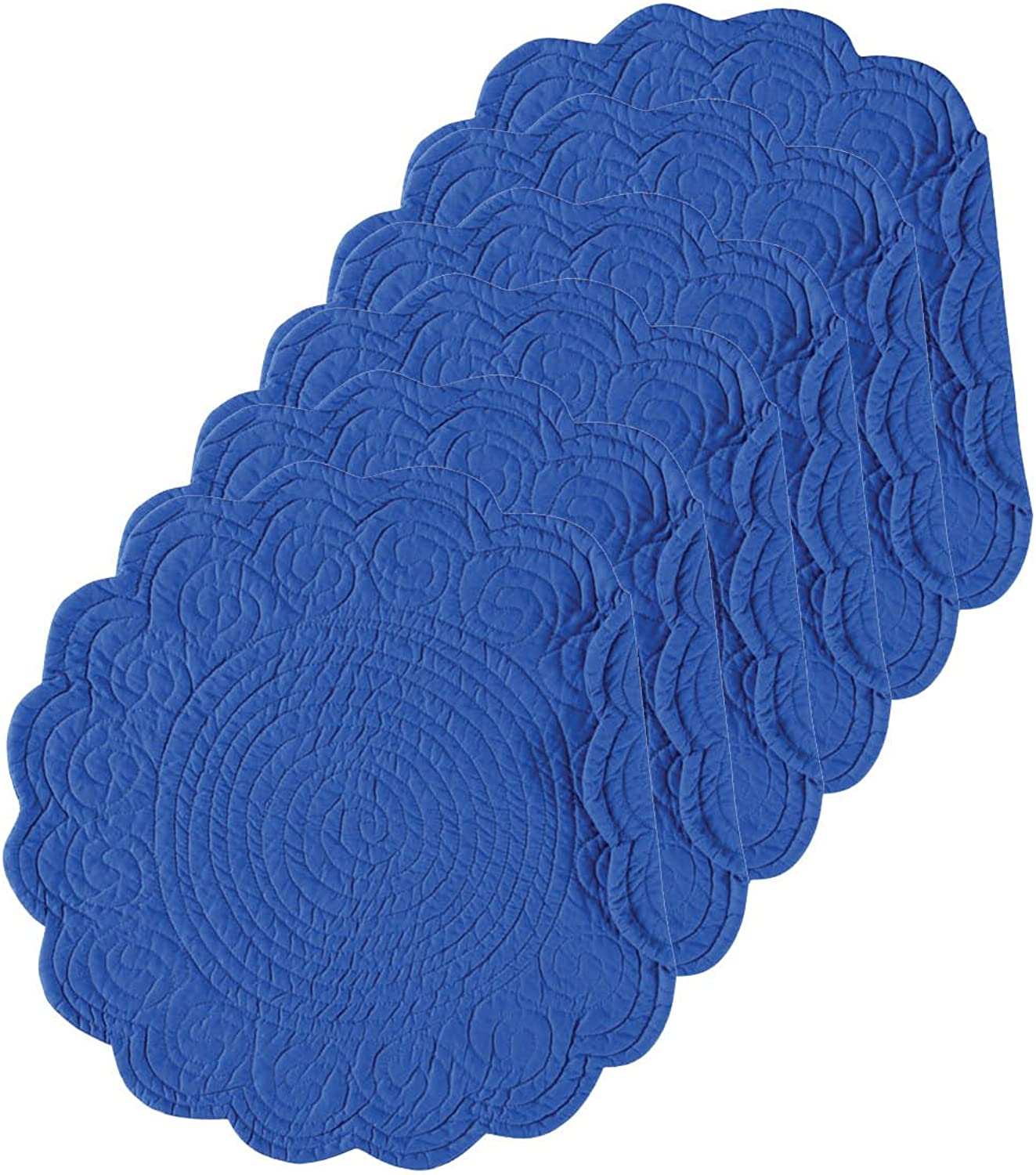 Ultramarine 17  Round Quilted Placemat Set of 6
