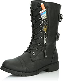 DailyShoes Women's Ankle High Lace up Military Combat Mid Calf Credit Card Knife Money Wallet Pocket Boots