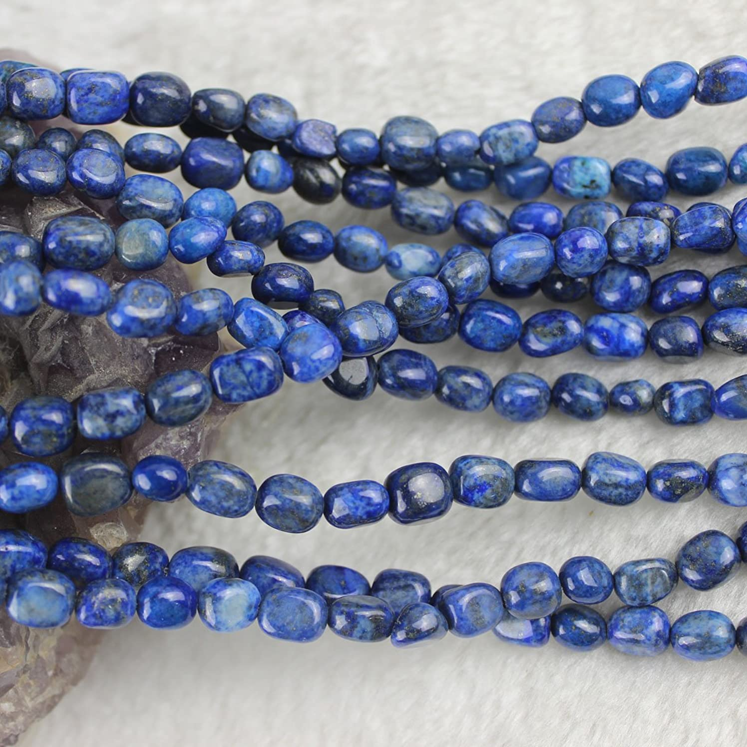 6-7mm Freeform Natural Lapis Lazuli Beads Loose Gemstone Beads for Jewelry Making Strand 15 Inch