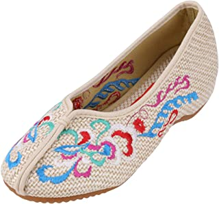 CINAK Women's Chinese Traditional Embroidery Flats - Totem Style Loafers Comfortable Round Toe Ballet