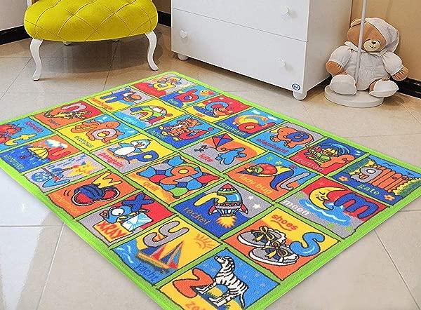 ABC Alphabet Kids Boys Girls Children Toddler Educational Play Mat For School 4 11 X 6 11 Daycare Nursery Non Slip Area Rug Green Multi
