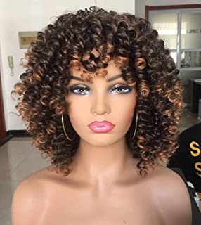 Annivia Short Curly Wig for Black Women with Bangs Big Bouncy Fluffy Kinky Curly Wig Heat Resist Soft Synthetic 2Tone Ombr...