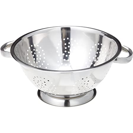 ExcelSteel Heavy Duty Handles and Self-draining Solid Ring Base Stainless Steel Colander, 5 Qt, Stainless