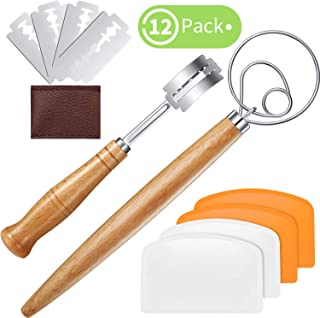 12 Pieces Bread Baking Tool Set Include Flexible Plastic Dough Scraper, Stainless Steel Dough Whisk, Bread Lame Slashing Tool with Replaceable Blades Protective Cover for Kitchen Baking Pastry Cake