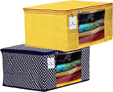 Kuber Industries Polka Dots 2 Pieces Cotton 3 Layered Quilted Saree Cover (Blue & Yellow) - CTKTC31117