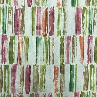 Kt KILOtela Stoff aus geharztem Segeltuch, fleckenabweisend, 100 % Baumwolle, 100 cm Länge x 140 cm Breite, geometrische Formen, Orange, Grün, Rosa, 1 Meter