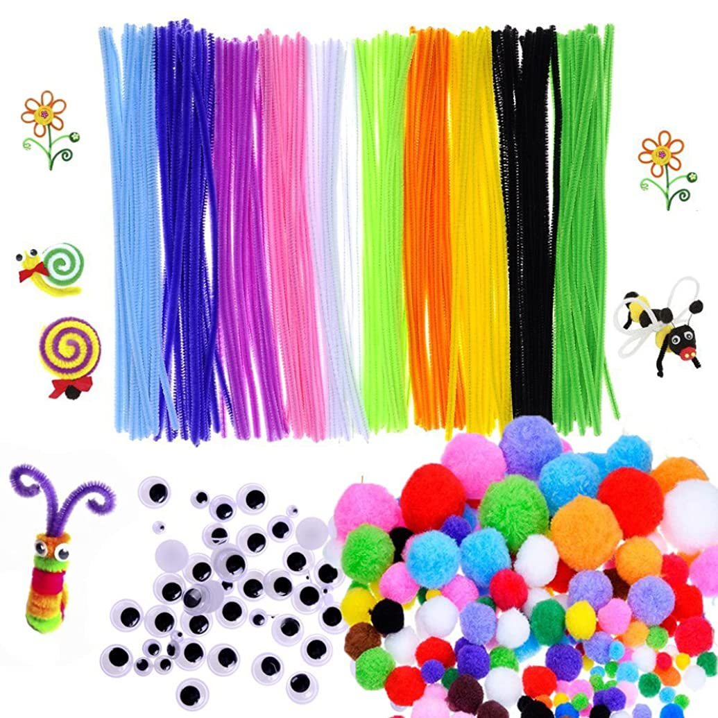 450 Pcs Craft Supply Set, Which Includes 100Pcs Pipe Cleaners Chenille Stem, 150Pcs Self-sticking Wiggle Googly Eyes and 200Pcs Pompoms for DIY School Art Projects by Baleauty