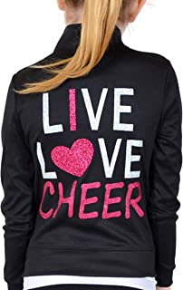 Girl's and Women's Live Love Cheer Warm Up Black Jacket