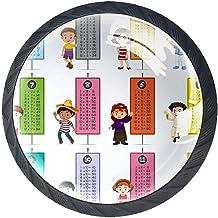 AITAI Set van 4 deurknop decoratieve handgreep gelukkige kinderen vermenigvuldiging tafels elegante toevoeging voor kast l...