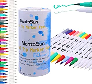 MontoSun Dual Brush Pens Art Markers,60 Colors Permanent Markers Color Pen for Kids Drawing Pens Coloring Markers for Adult Coloring Books Calligraphy Drawing Sketching Lettering