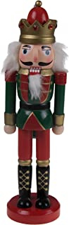 "Classic King Nutcracker | Traditional Red & Green Uniform with Ornate Crown | Great Nutcracker for Any Collection | Classic Decorative Nutcracker | Perfect for Any Decor Theme | 100% Wood | 10"" Tall"
