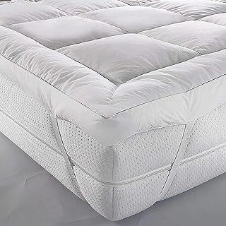 iBed Home Premium 180TC Cotton Mattress Topper, 100 x 200 x 6 cm, White, COTTONTOP2