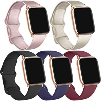 [5 Pack] Silicone Bands Compatible for Apple Watch Bands 42mm 44mm, Sport Band Compatible for iWatch Series 6 5 4 3 SE(Black/Rose Gold/Gold/Navy Blue/Wine red, 42mm/44mm-S/M)