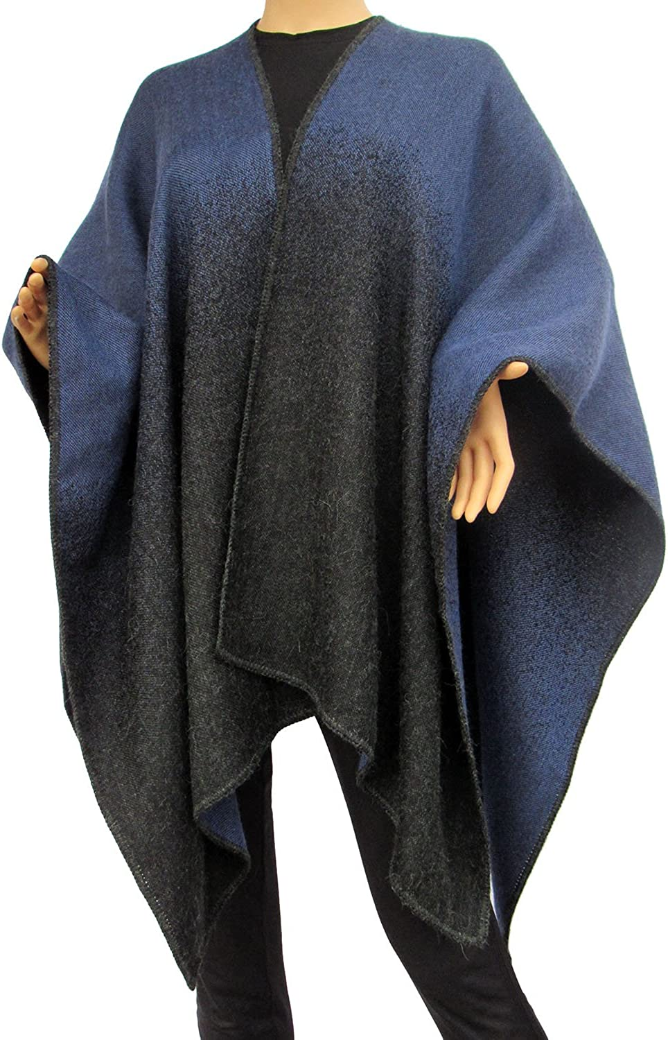 Charcoal and bluee Gradient Reversible Alpaca Womens Winter Knitted Poncho Capes Shawl Sweater ...
