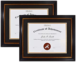 Golden State Art, Set of 2, 11x14 Frame for 8.5x11 Diploma/Certificate, Black Gold & Burgundy Color. Includes Black Over Gold Double Mat and Real Glass