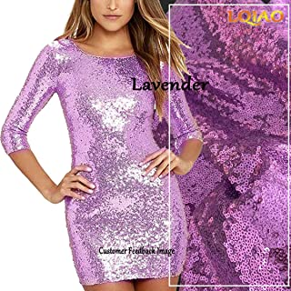 LQIAO 1Yard Lavender Sequin Fabric Shimmer Sequin Fabric Photography Sequin Fabric by The Yard for Sewing Costume Wedding Dress Tablecloth DIY