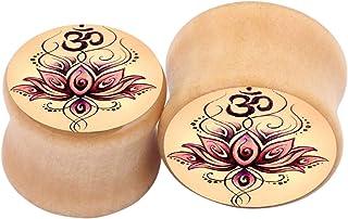 1 Pair/2 Pcs Wood Ear Plug Stretcher Natural Organic Wooden Lotus Flower Pattern Expander Flesh Tunnel