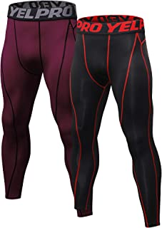 TONLEN Men's Compression Shorts Athletic Tights Pants Leggings Packs