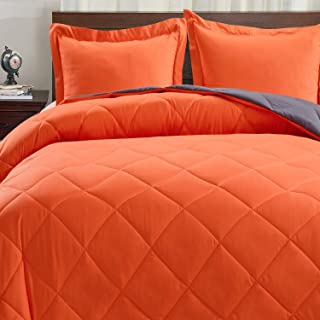 Basic Beyond Down Alternative Comforter Set (Queen, Flame/Charcoal Gray) - Reversible Bed Comforter with 2 Pillow Shams for All Seasons