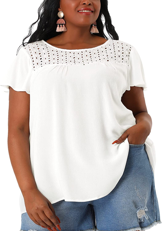 Agnes Orinda Plus Size T Shirts for Women Embroidered Front Yoke Eyelet Ruffle Peplum Work T Shirt