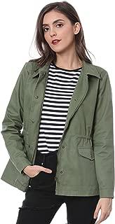 Women's Drawstring Waist Flap Pockets Lightweight Utility Jacket