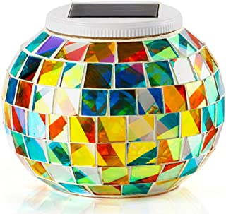 Hallomall Solar Table Lights for Outdoor/Indoor Decorations, Color Changing Mosaic Solar Powered Glass Ball Led Lights, Ideal Gifts-5.12 Inch in Diameter, 4.13Inch