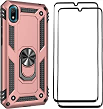 FANFO Stand Case + [2 Pack] Screen Protector for Huawei Y5 2019, [Support Magnetic Car Mount] [Military Drop Tested Defense] Hard PC Back and Tpu Bumper Case Cover, Rose gold