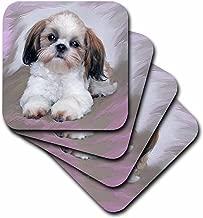 3dRose CST_4807_3 Shih Tzu Puppy Ceramic Tile Coasters, Set of 4
