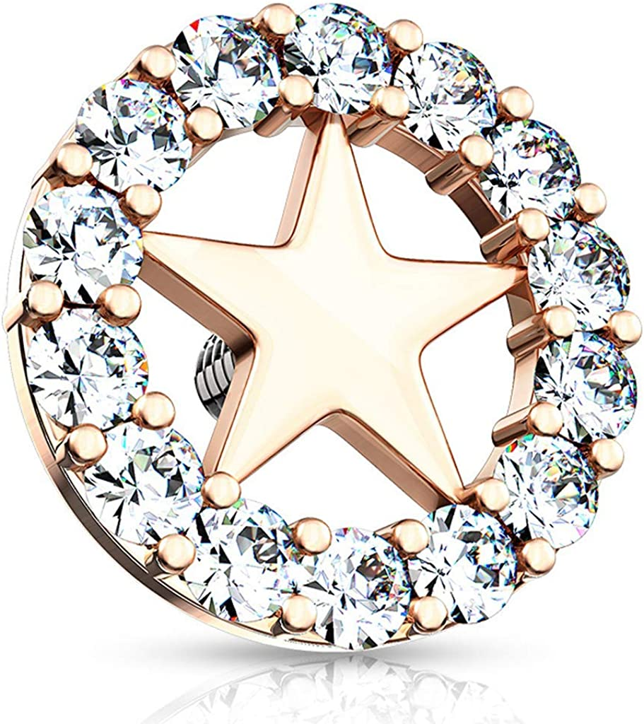 Covet Jewelry CZ Paved Circle Outlined Star Center Internal Threaded Dermal Anchor Tops