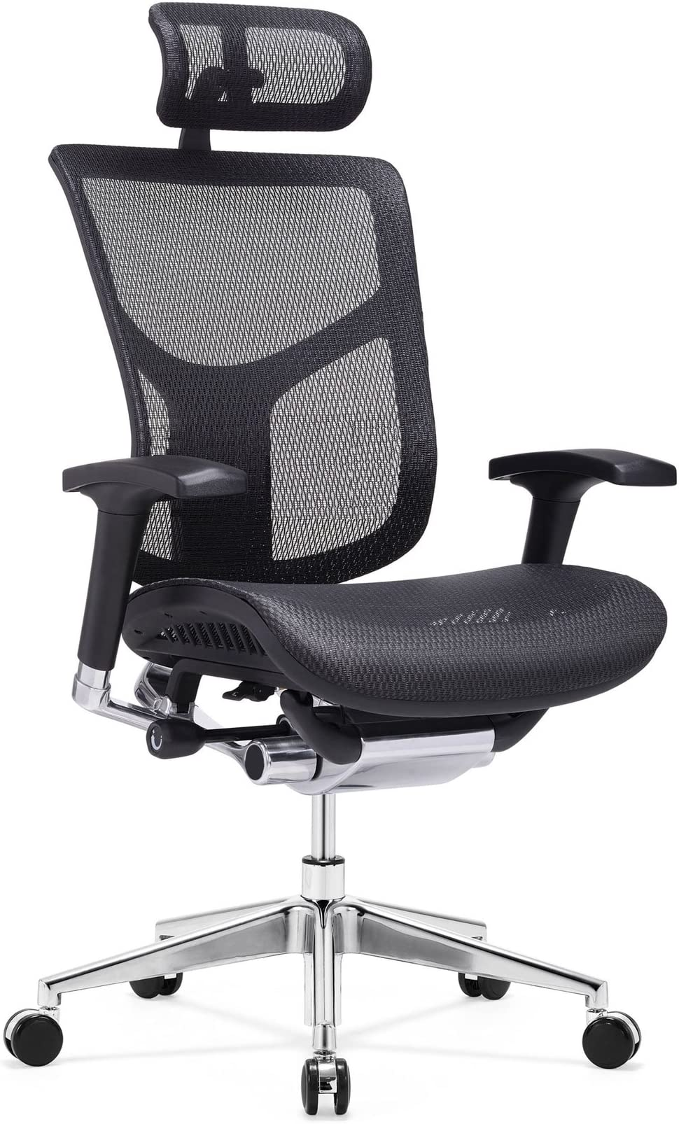 GM Seating Dreem XL Ergonomic Mesh Executive Hi Back, Swivel Chair, Chrome Base with Headrest, Black, Seat Slide, Passive Lumbar Support