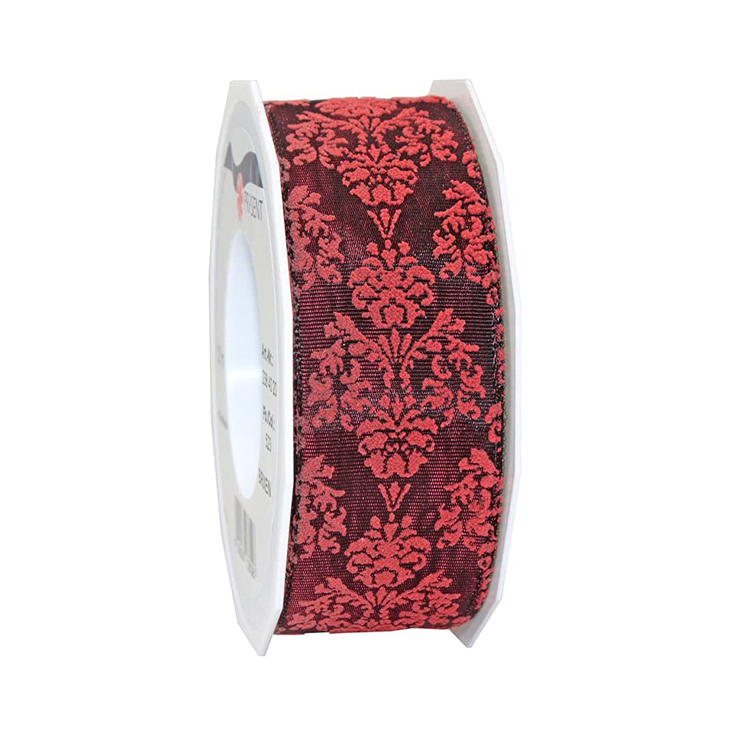 Morex Ribbon 23840/20-619 French Wired Acetate Baroque Ribbon, 1 1/2-Inch by 22-Yard, Burgundy