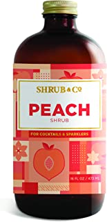 Shrub & Co Peach Shrub - Fruit-Driven Mixers for Cocktails, Sparklers, and Club Sodas, 16 fl. oz.