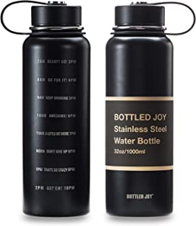 BOTTLED JOY 32oz Stainless Steel Water Bottle with Motivational Time Marked 1L Wide Mouth Travel Mug Double-wall Vacuum Insulated Water Bottle BPA-free Thermo Mug for Outdoor Activities Daily Drinking
