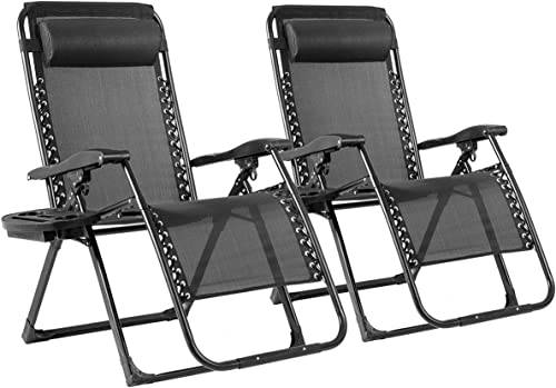 high quality Goplus 500-lb Zero Gravity Chairs 2PCS, Oversized outlet sale Recliner with Cup Holder, Folding Chaise online sale for Indoor and Outdoor (Black) outlet online sale